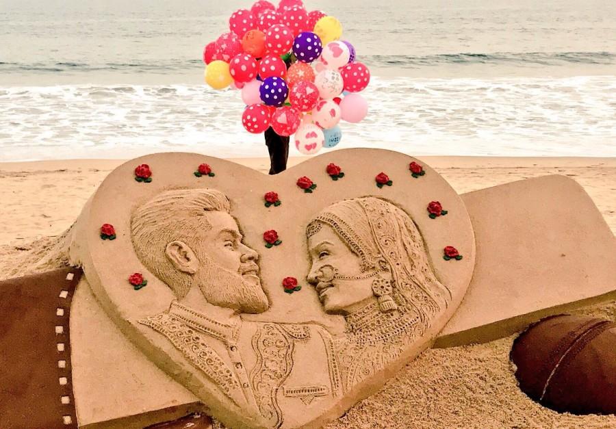 Anushka Sharma-Virat Kohli marriage,Anushka Sharma-Virat Kohli wedding,Sand artist Sudarsan Pattnaik,Sudarsan Pattnaik,Anushka Sharma-Virat Kohli sand art