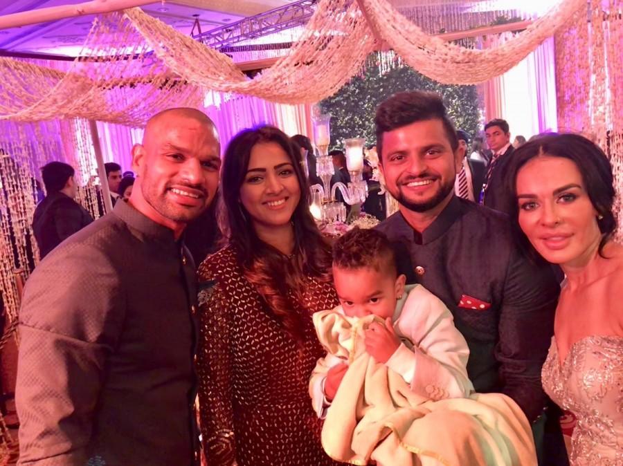 Suresh Raina,Shikhar Dhawan,Virat Kohli and Anushka Sharma wedding reception,Virat Kohli wedding reception,Anushka Sharma wedding reception