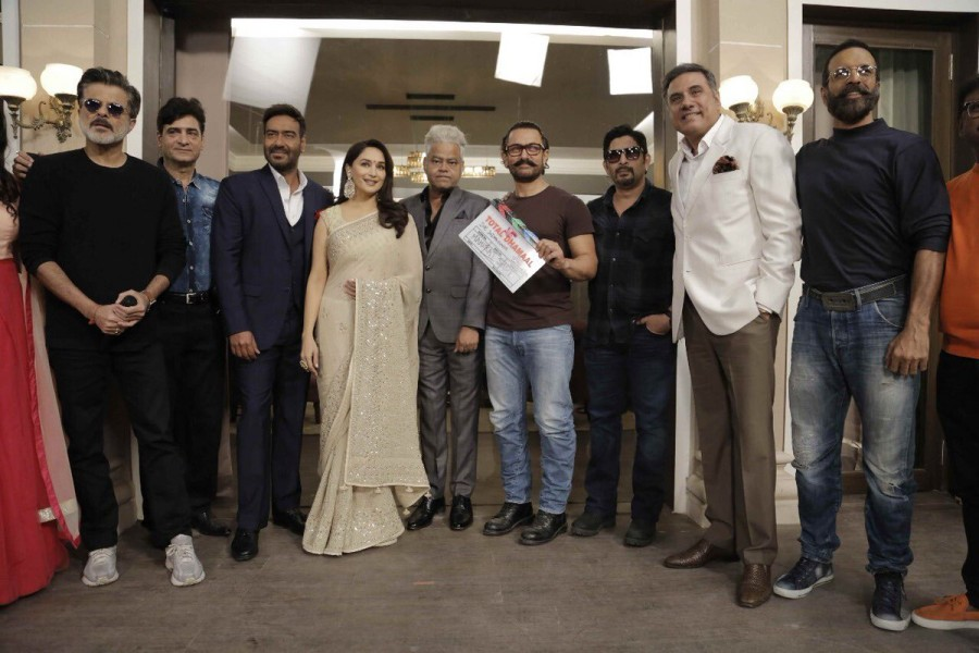 Aamir Khan,Ajay Devgn,Madhuri Dixit and Anil Kapoor,Total Dhamaal,Total Dhamaal movie launch,Total Dhamaal movie launch pics,Total Dhamaal movie launch images,Total Dhamaal movie launch stills,Total Dhamaal movie launch pictures,Total Dhamaal movie launch