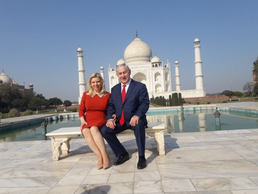 Israeli PM Benjamin Netanyahu,Benjamin Netanyahu,Israeli Prime Minister Benjamin Netanyahu,Prime Minister Benjamin Netanyahu,Benjamin Netanyahu at Taj Mahal,Taj Mahal
