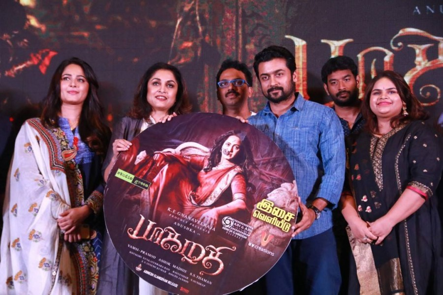Anushka Shetty,Suriya,Ramya Krishnan,Vidyullekha Raman,Bhaagamathie,Bhaagamathie audio launch,Bhaagamathie music launch,Bhaagamathie audio launch pics,Bhaagamathie audio launch images,Bhaagamathie audio launch stills,Bhaagamathie music launch pics,Bhaagam