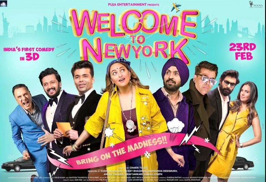 Diljit Dosanjh,Sonakshi Sinha,Karan Johar,Boman Irani,Lara Dutta,Riteish Deshmukh,Rana Daggubati,Welcome to New York,Welcome to New York poster,Welcome to New York first look,Welcome to New York first look poster,Welcome to New York movie poster