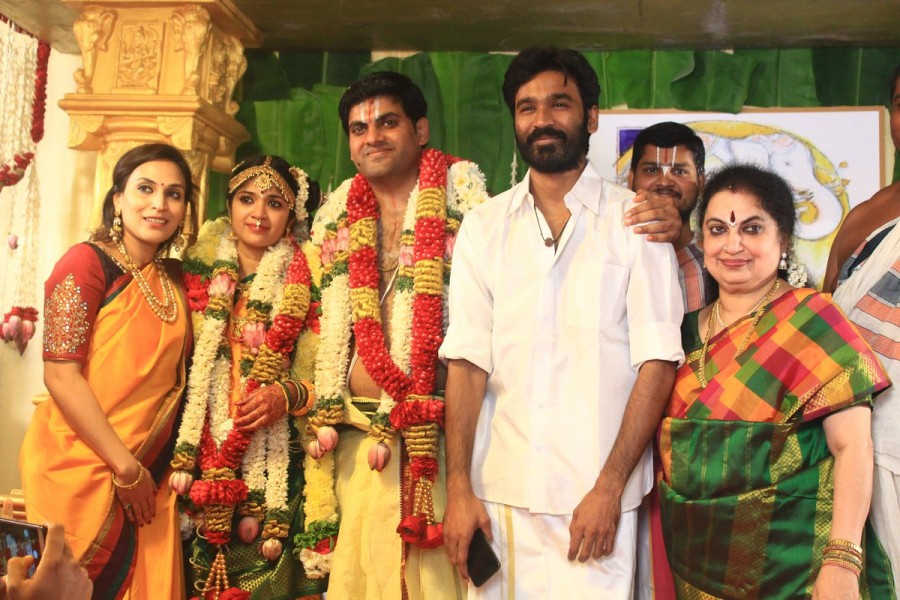 Rajinikanth,Dhanush,Anirudh Ravichander,YG Mahendra,yg mahendra son marriage,yg mahendra son wedding,YG Mahendra son Harshavardhan,Harshavardhan wedding,Shwetha