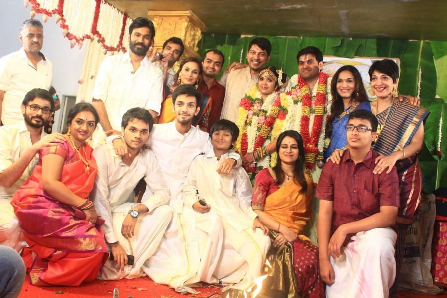 Rajinikanth,Dhanush,Anirudh Ravichander,YG Mahendra,yg mahendra son marriage,yg mahendra son wedding,YG Mahendra son Harshavardhan,Harshavardhan wedding,Shwetha