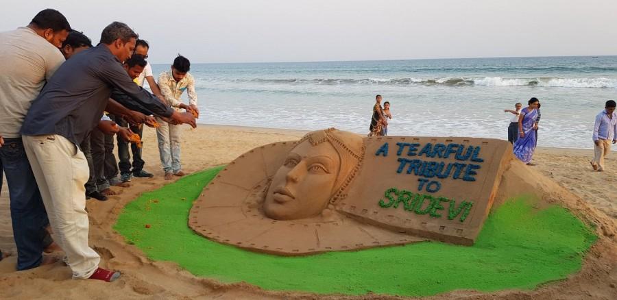 Manas Sahoo,Sand artist Manas Sahoo,Sridevi,Sridevi sand art,Sridevi death,Sridevi passes away