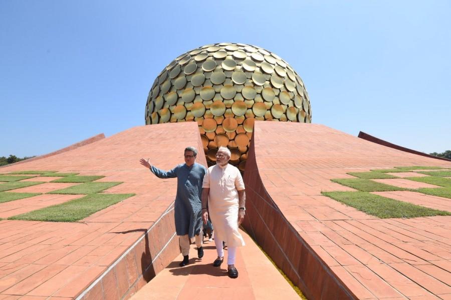 PM Narendra Modi,Narendra Modi,Narendra Modi in Puducherry,Narendra Modi visits Auroville