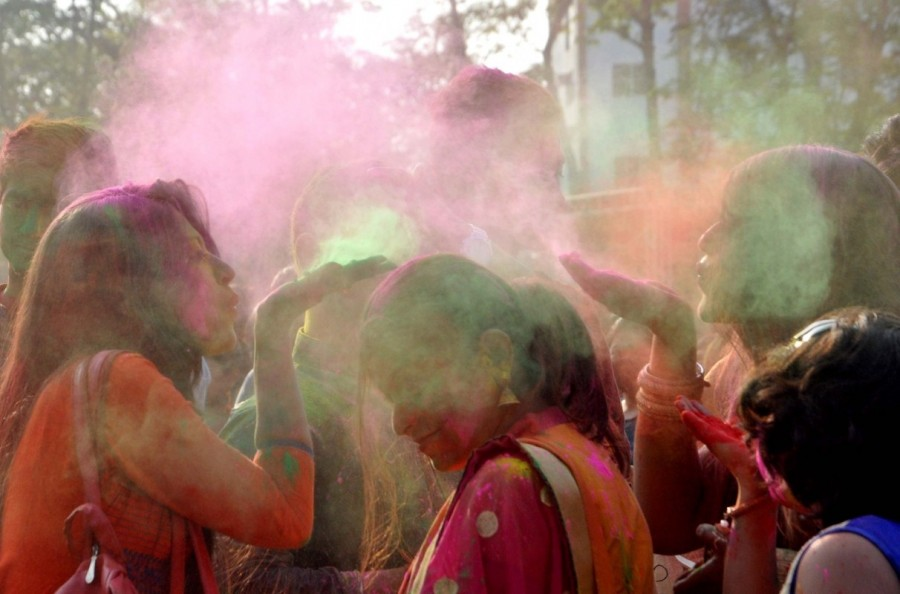 Holi,Holi celebration,holi celebration in india,holi celebration photos,Holi celebration pics,Basanta Utsav,Basanta Utsav celebrations