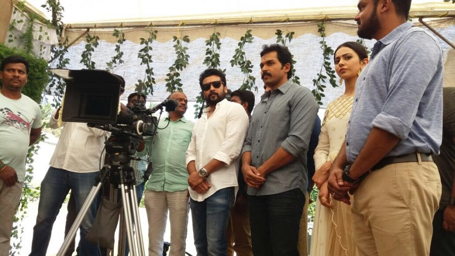 Suriya,Karthi,Sivakumar,Rakul Preet,Karthi 17,Karthi 17 movie launch,Karthi 17 movie launch pics,Karthi new movie,Karthi-Rakul Preet,rakul preet singh
