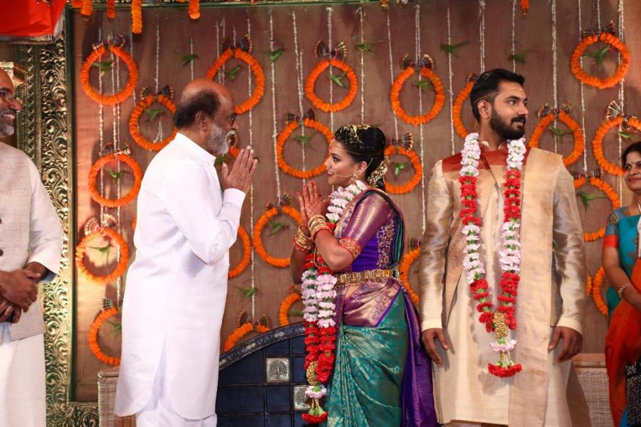Keerthana and Akshay wedding,Keerthana and Akshay wedding pics,Keerthana and Akshay wedding images,Keerthana and Akshay marriage,Keerthana and Akshay marriage pics,R Parthiban,R Parthiban daughter,Kamal Haasan,actor Kamal Haasan,Rajinikanth