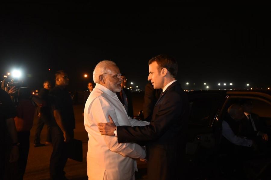 Prime Minister Narendra Modi,Narendra Modi,Narendra Modi with French President Macron,French President Macron,Macron,French President Macron in India