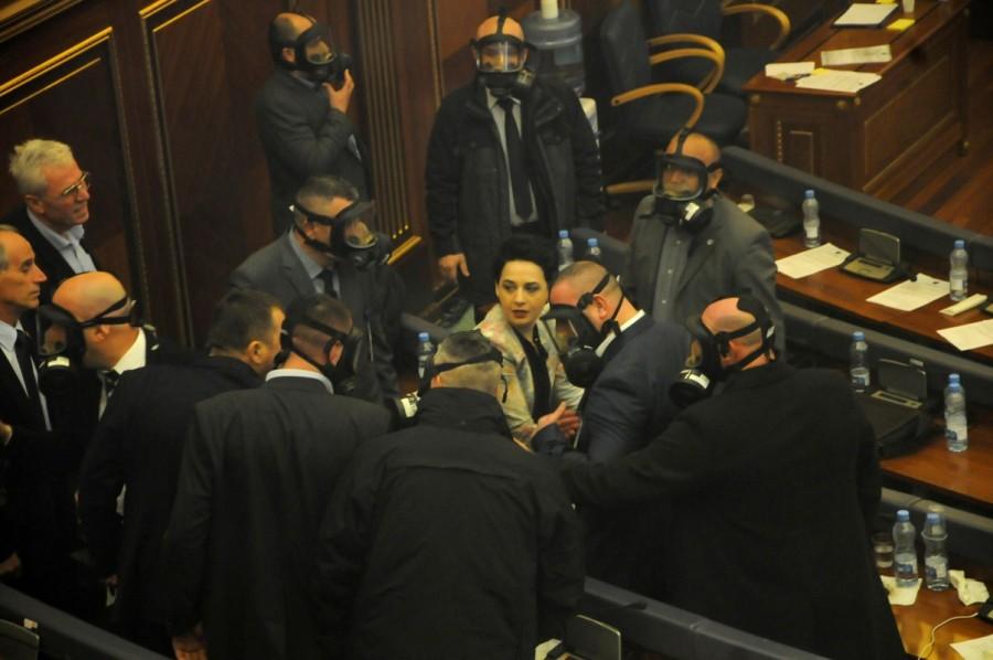 Kosovo,Kosovo protest,Kosovo opposition,Kosovo politicians,Pristina,Kosovo Parliament,Pristina Parliament,Parliament tear gas,tear gas in Parliament
