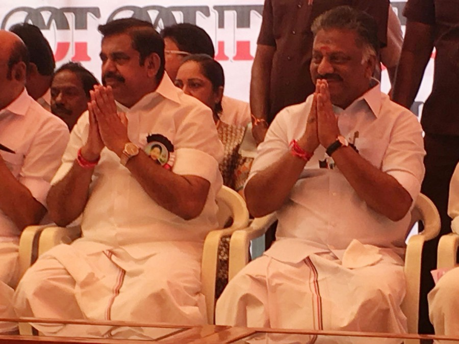 Palaniswami and Panneerselvam,Palaniswami,Panneerselvam,Edappadi Palaniswami,Cauvery protest,TN Cauvery protest,Cauvery Mangement Board,AIADMK,AIADMK protest