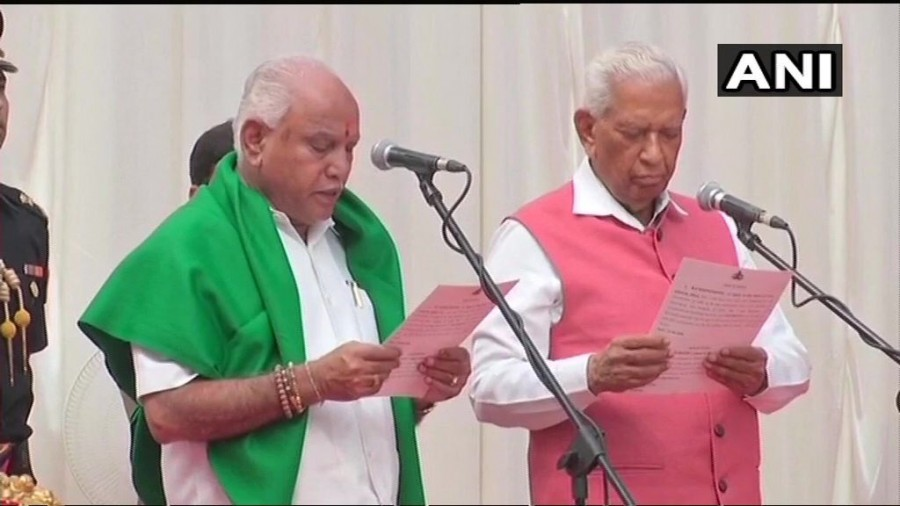 BS Yeddyurappa,Yeddyurappa takes oath as Karnataka CM,BS Yeddyurappa takes oath,BJP,Chief Minister of Karnataka