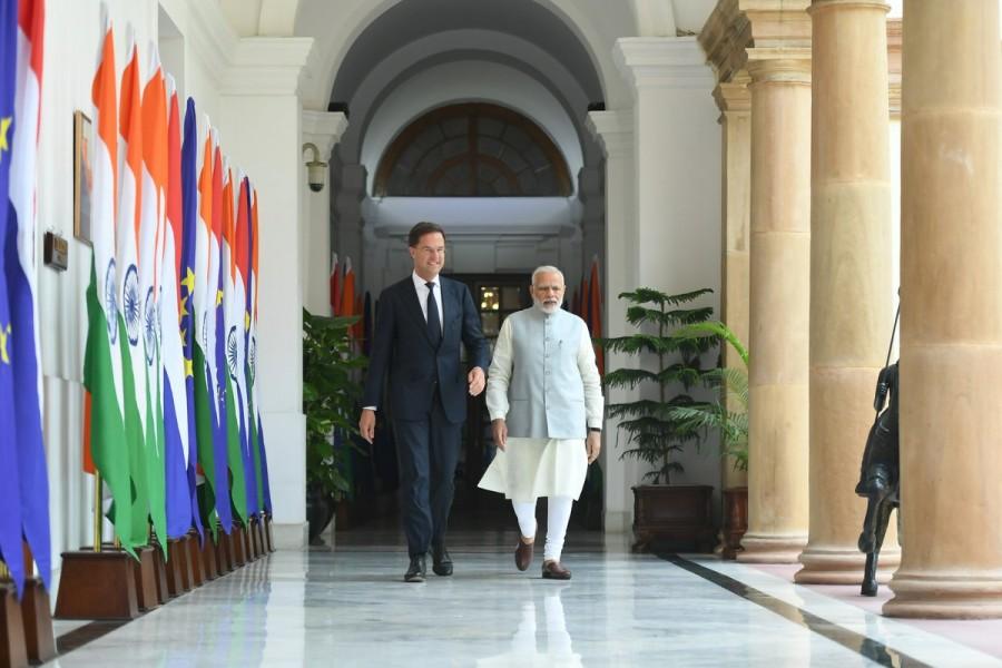 PM Narendra Modi,Narendra Modi,Dutch PM Mark Rutte,Mark Rutte,Modi meets Mark Rutte,Modi and Mark Rutte,Modi with Mark Rutte
