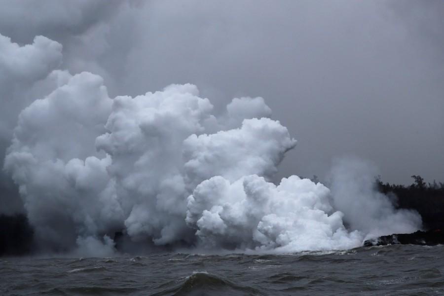 New lava stream,lava stream,Pacific Ocean,Kilauea volcano,Big Island,Kilauea,Hawaii