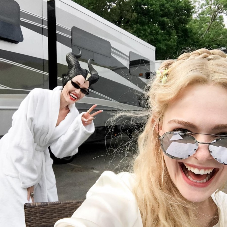 Angelina Jolie,Angelina Jolie Instagram debut,Angelina Jolie Instagram,Angelina Jolie Instagram debut pics,Elle Fanning,Maleficent 2,Maleficent 2 on the sets