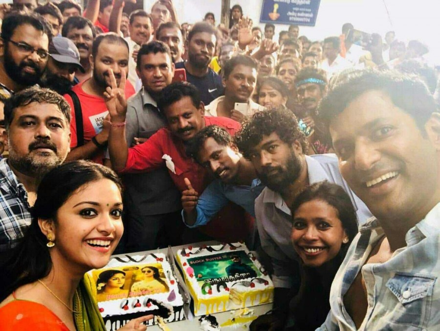 Vishal and Keerthy Suresh,Vishal,Keerthy Suresh,Irumbu Thirai,Nadigayar Thilagam,Sandakozhi 2 sets,Sandakozhi 2,Irumbu Thirai success meet,Nadigayar Thilagam success meet