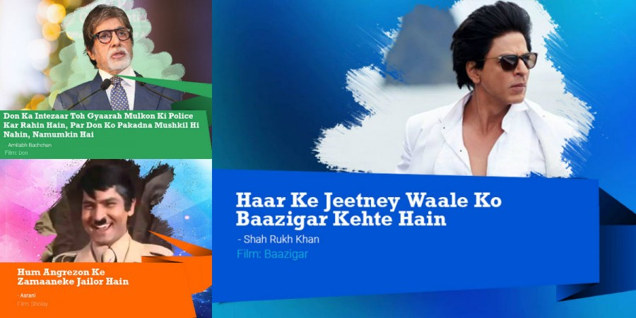 Bollywood dialogues,iconic Bollywood dialogues,Best Bollywood dialogues,Top iconic Bollywood dialogues,Shah Rukh Khan,Amitabh Bachchan,Amitabh Bachchan dialogues,SRK dialogues