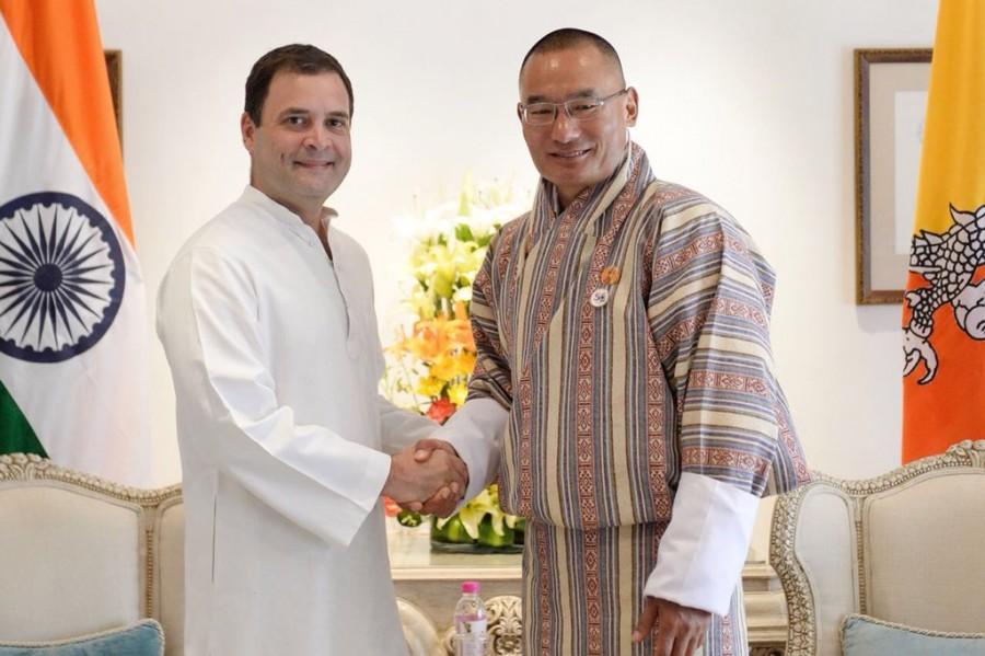 Rahul Gandhi,Congress President Rahul Gandhi,President Rahul Gandhi,Bhutanese PM Tshering Tobgay,Tshering Tobgay,Gandhi meets Bhutanese PM