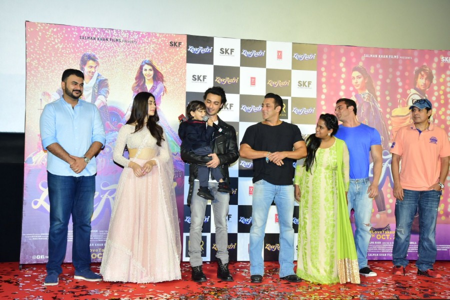 Loveratri trailer launch,Loveratri launch,Salman Khan,Aayush Sharma,Warina Hussain,Loveratri trailer launch pics,Loveratri trailer launch images,Loveratri trailer launch stills,Loveratri trailer launch pictures,Loveratri trailer launch photos