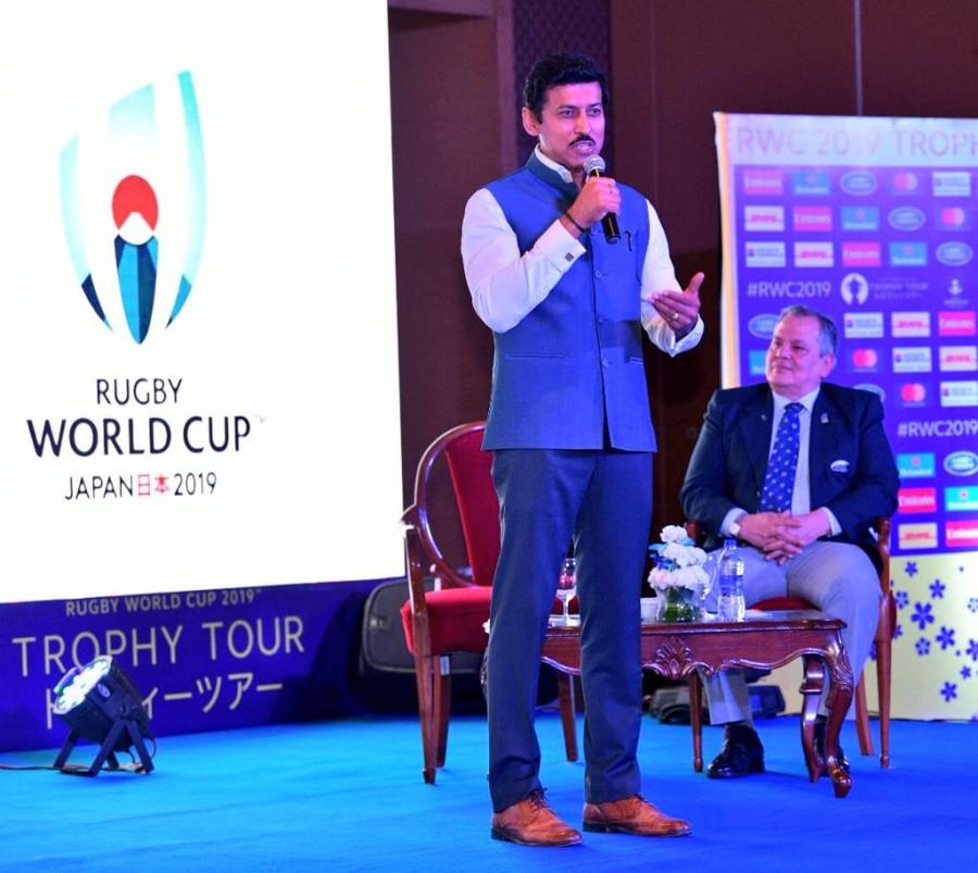 Rajyavardhan Rathore,Rajyavardhan Singh Rathore,Rugby World Cup 2019,Rugby World Cup,Rugby World Cup trophy,Rugby World Cup in India