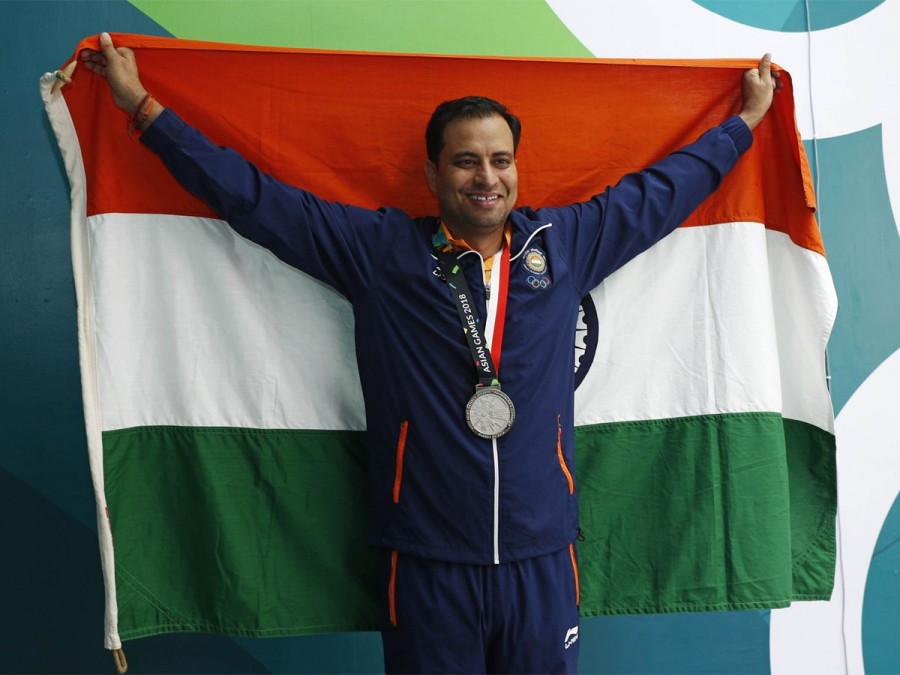 Indian shooter Sanjeev Rajput,Sanjeev Rajput,Sanjeev Rajput wins silver,Asian Games 2018,Asian Games