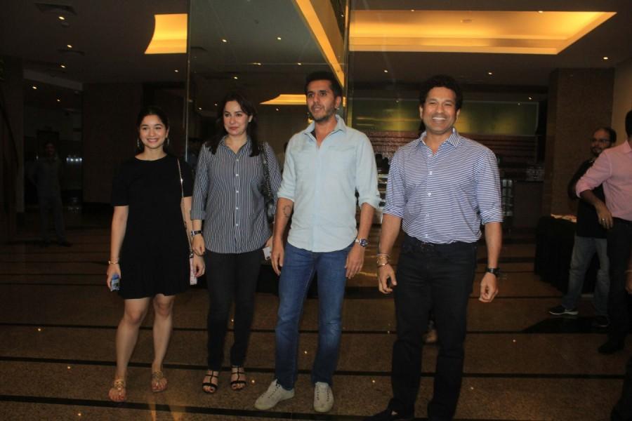 Sachin Tendulkar,Sachin,Sachin Tendulkar at Gold special screening,Gold special screening,Ritesh Sidhwani,Anjali Tendulkar,Sara Tendulkar