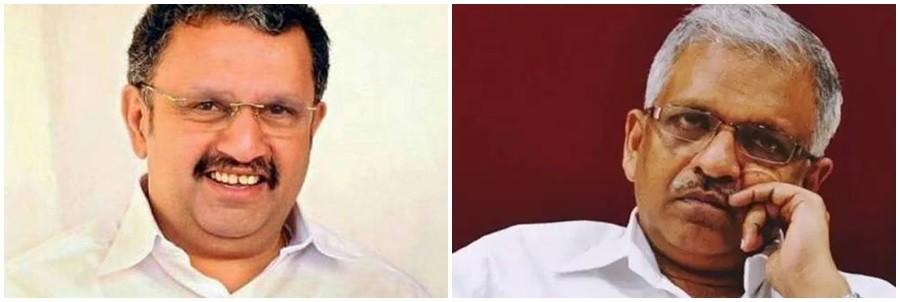K Muraleedharan (left) and P Jayarajan. CPI-M's Jayarajan is a political murder accused.