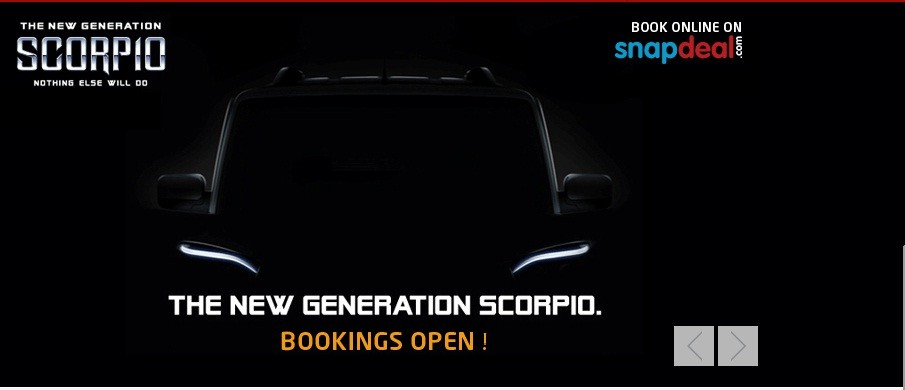 2014 Mahindra Scorpio Facelift Bookings Open on Snapdeal; Confirms 25 September Launch; Check Feature, Prcie Details
