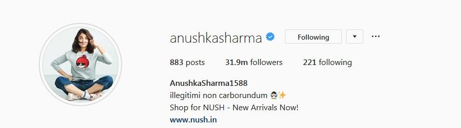 Anushka Sharma Instagram username