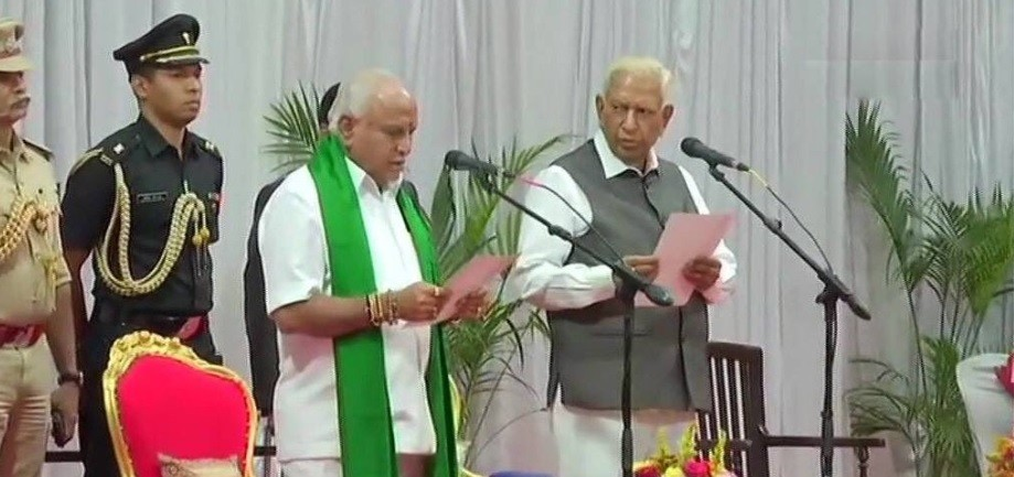 BS Yediyurappa sworn-in as the chief minister of Karnataka on 26 July 2019