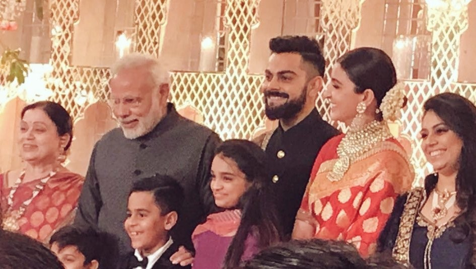 Narendra Modi,PM Narendra Modi,Narendra Modi at Virat Kohli wedding reception,Narendra Modi at Anushka Sharma's wedding reception