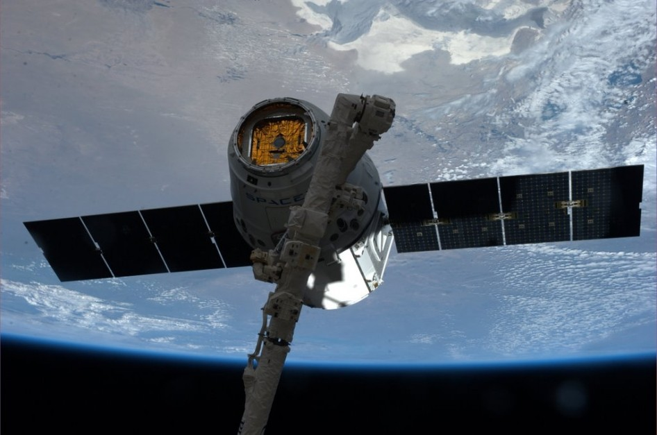 On Sunday, April 20, 2014, the Expedition 39 crew aboard the International Space Station welcomed nearly two-and-a-half tons of supplies and scientific payloads to the station with the arrival of the third SpaceX Dragon commercial cargo spacecraft. This i