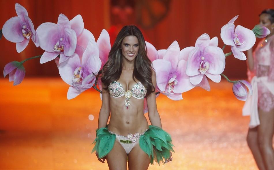 Supermodel Alessandra Ambrosia presents a million dollar bra during the Victoria's Secret Fashion Show in New York
