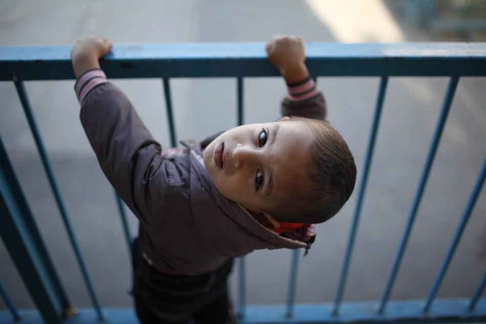 Displaced Palestinian boy