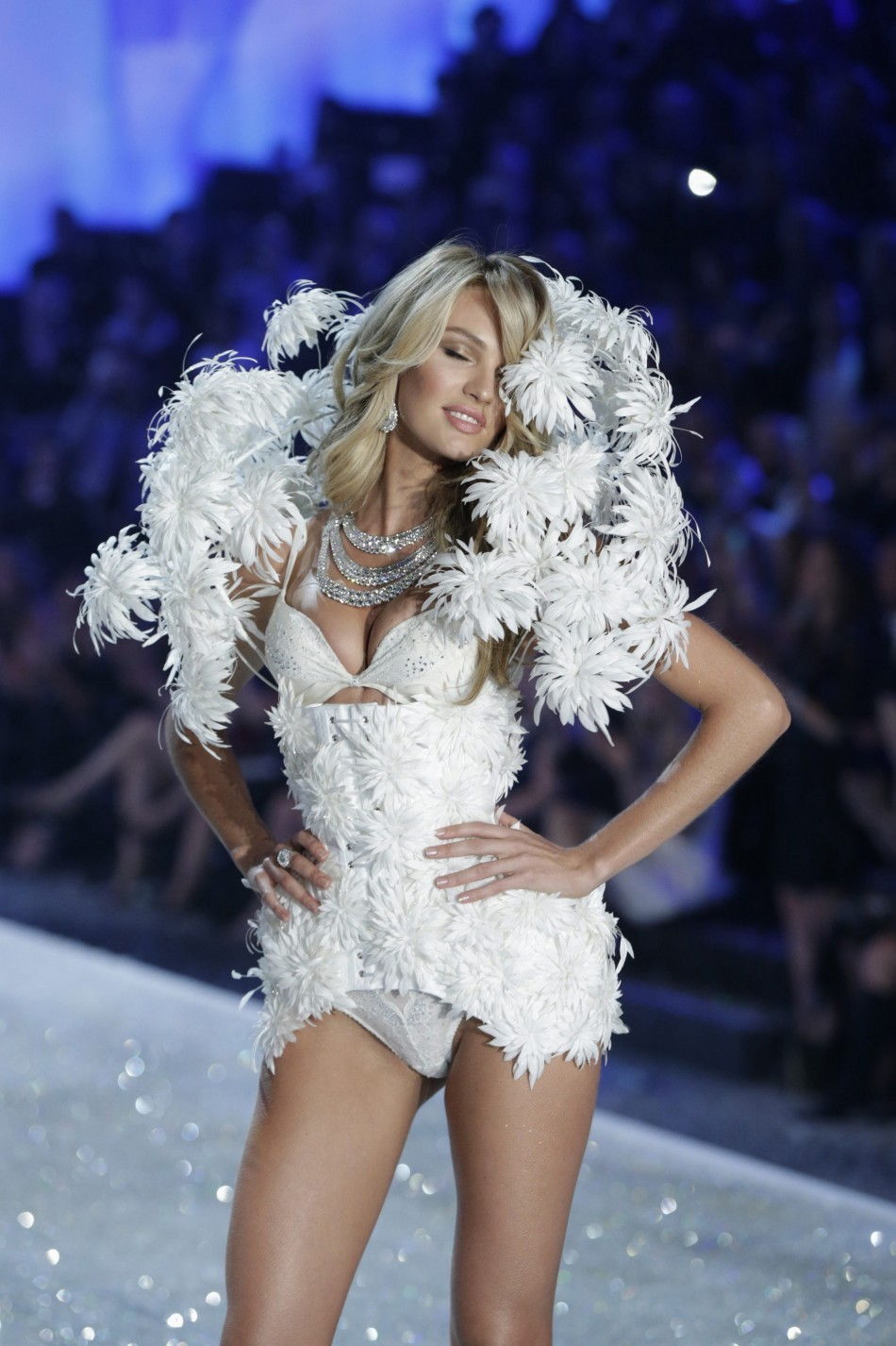 Carla Delevingne presents a creation during the annual Victoria's Secret Fashion Show in New York