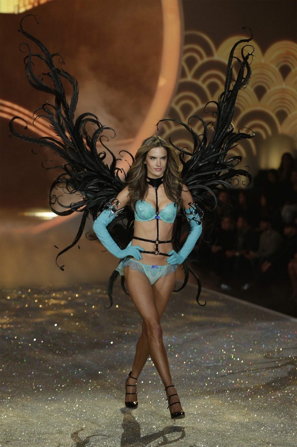Model Alessandra Ambrosio presents a creation during the annual Victoria's Secret Fashion Show in New York