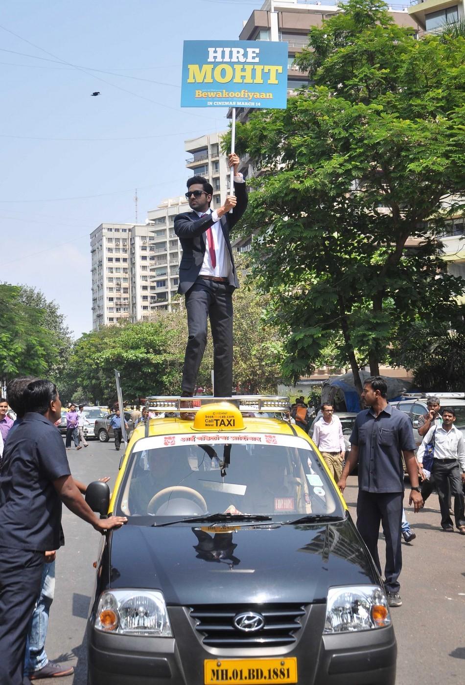 Ayushmann Khurrana, the lead actor of 'Bewakoofiyaan' promotes his upcoming film outside status restaurant at Nariman Point, Mumbai.
