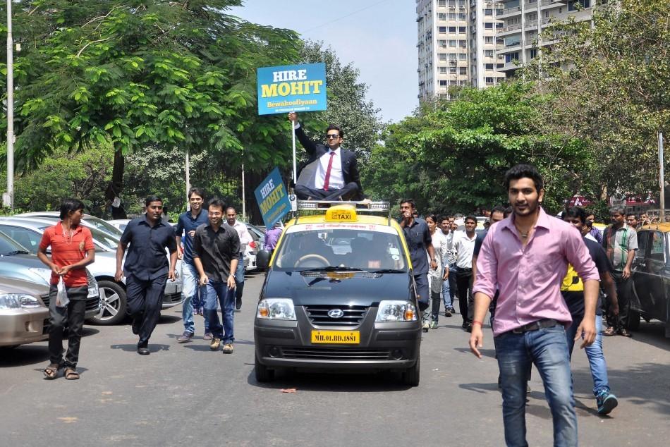 Ayushmann Khurrana promotes Bewakoofiyaan at Nariman Point, Mumbai.