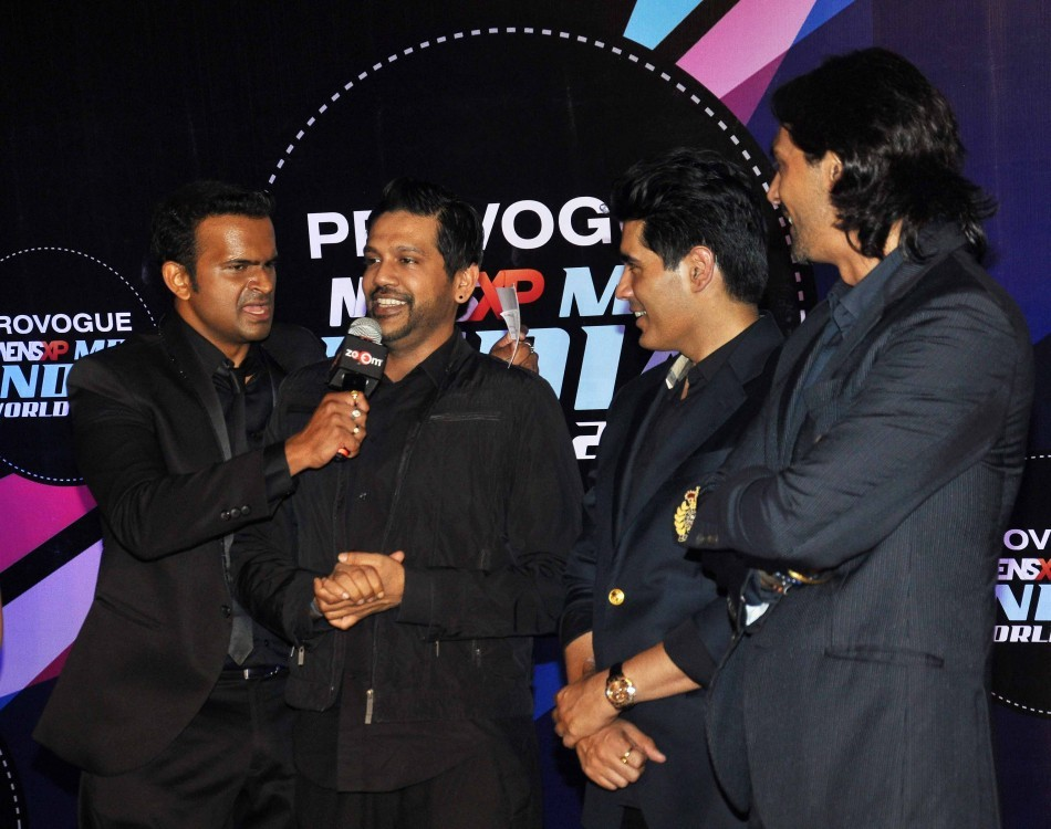 Arjun Rampal, Manish Malhotra and Rocky S at the first edition of  Provogue MensXP Mr. India 2014 in Mumbai