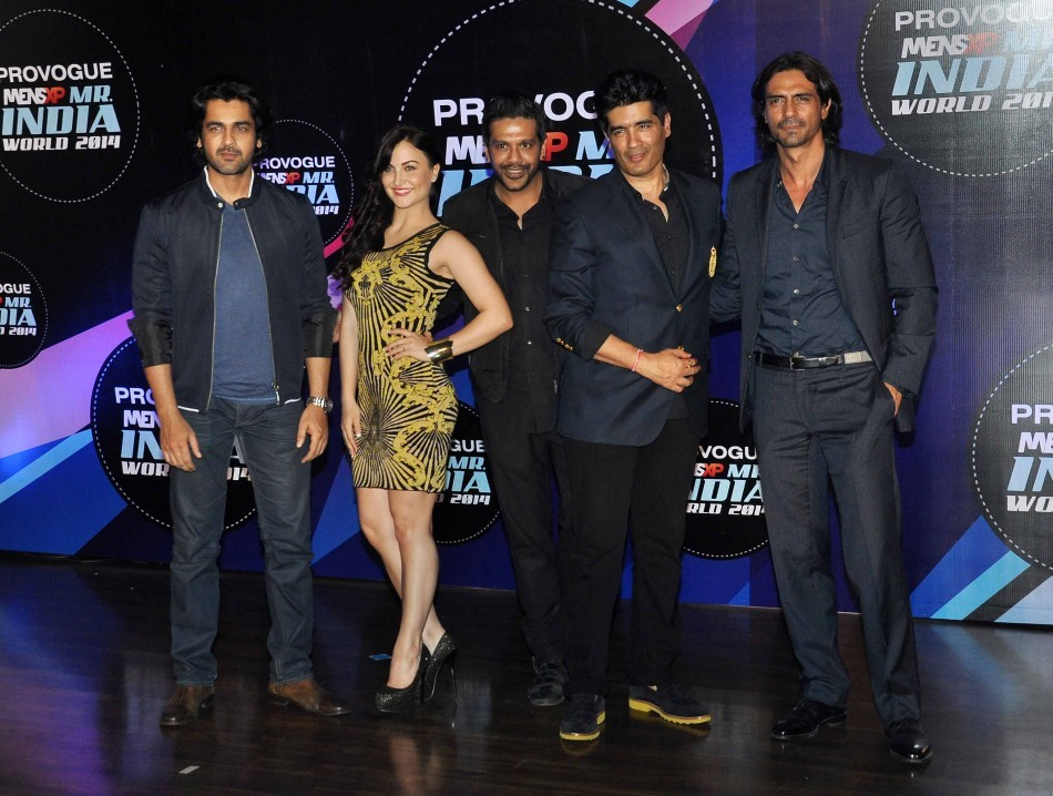 The 5-judge panel included Arjun, Arjan, Elli, Manish and Rocky S at the first edition of  Provogue MensXP Mr. India 2014 in Mumbai