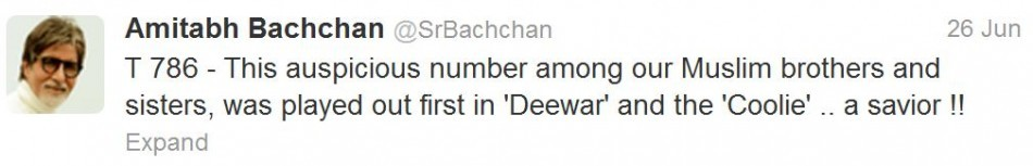 Amitabh Bachchan's 786th Tweet.