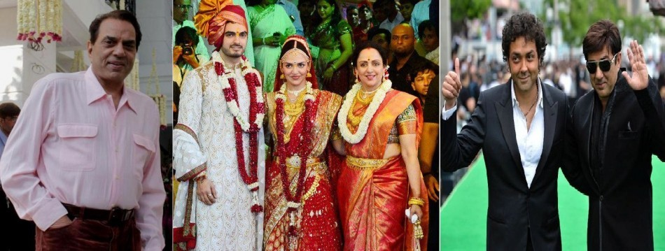 Picture 1: Actor Dharmendra, teh father of the bride. Picture 2: Newly-wed Esha Deol (M) strikes a pose with husband Bharat Tahtani and mother Hema Malini (R).  Picture 3: Esha Deol's half brothers Sunny (R) and Bobby (L) Deol Image: Facebook