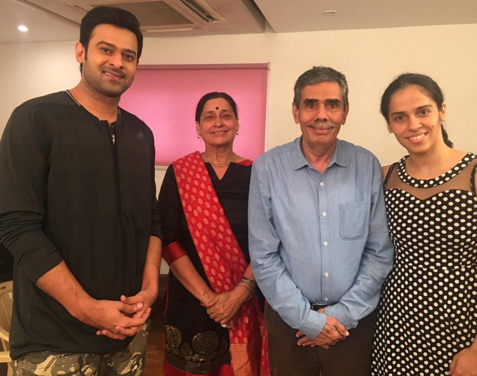 Saina Nehwal,Badminton Player Saina Nehwal,Indian Badminton Player Saina Nehwal,Saina Nehwal meets Prabhas,actor Prabhas,Saaho,Saaho on the sets
