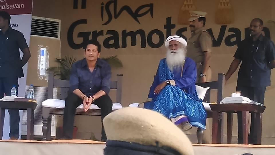 Sachin Tendulkar,Sachin,Sachin Tendulkar at Isha Gramotsavam 2015,Isha Gramotsavam 2015,Isha Gramotsavam,Sachin Tendulkar at Coimbatore,Sachin at Coimbatore,Isha temple,Isha temple in Coimbatore