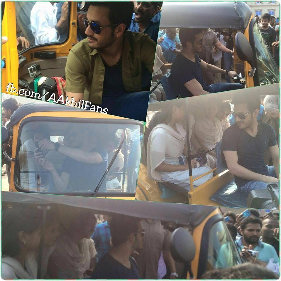 Tollywood actor Akkineni Akhil drives passenger auto-rickshaw in Khammam on Tuesday and donated earnings to the help of 6 years old boy Ashwith Reddy who is suffering from Kidney related disease.