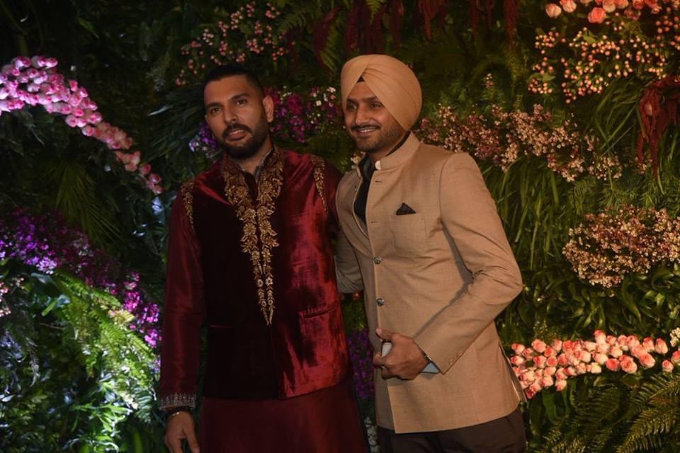 Yuvraj Singh,Harbhajan Singh,Zaheer Khan,Virat Kohli and Anushka Sharma reception