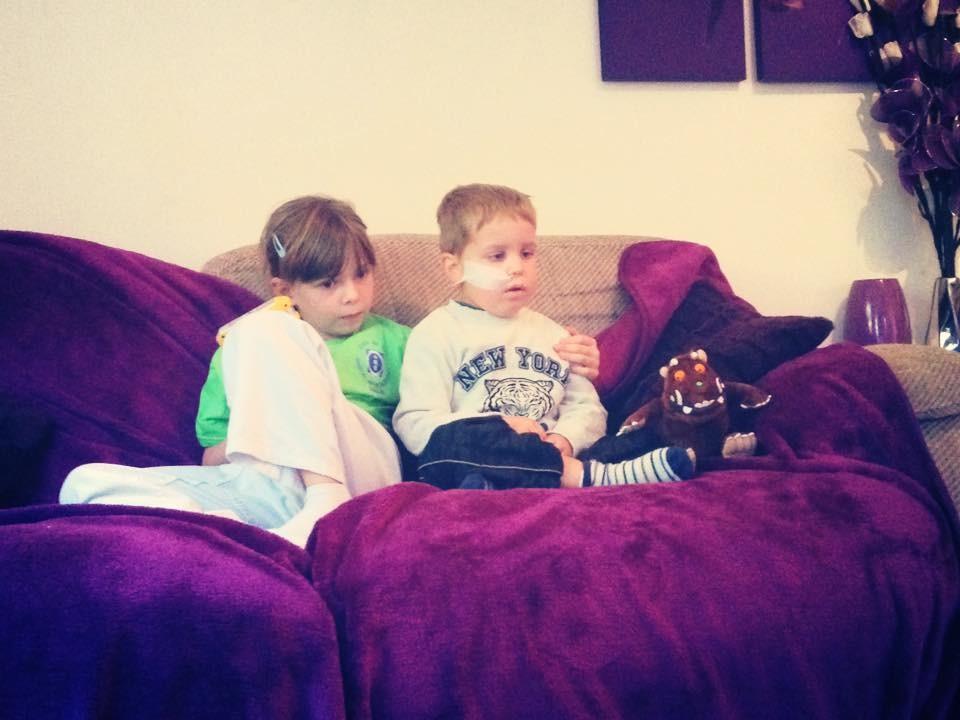 Jayden Wilson with his sister Ella