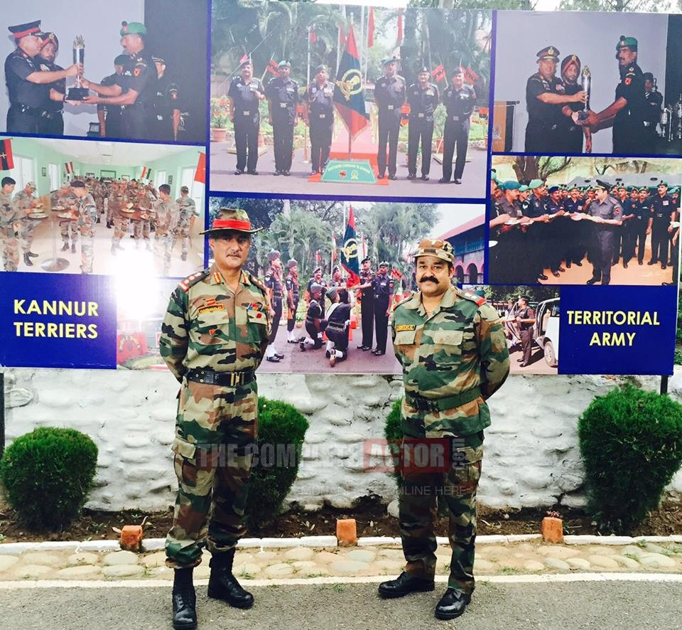 Mohanlal with Commanding Officer Col Harmanjit Singh in Nowshera, Rajouri, Jammu