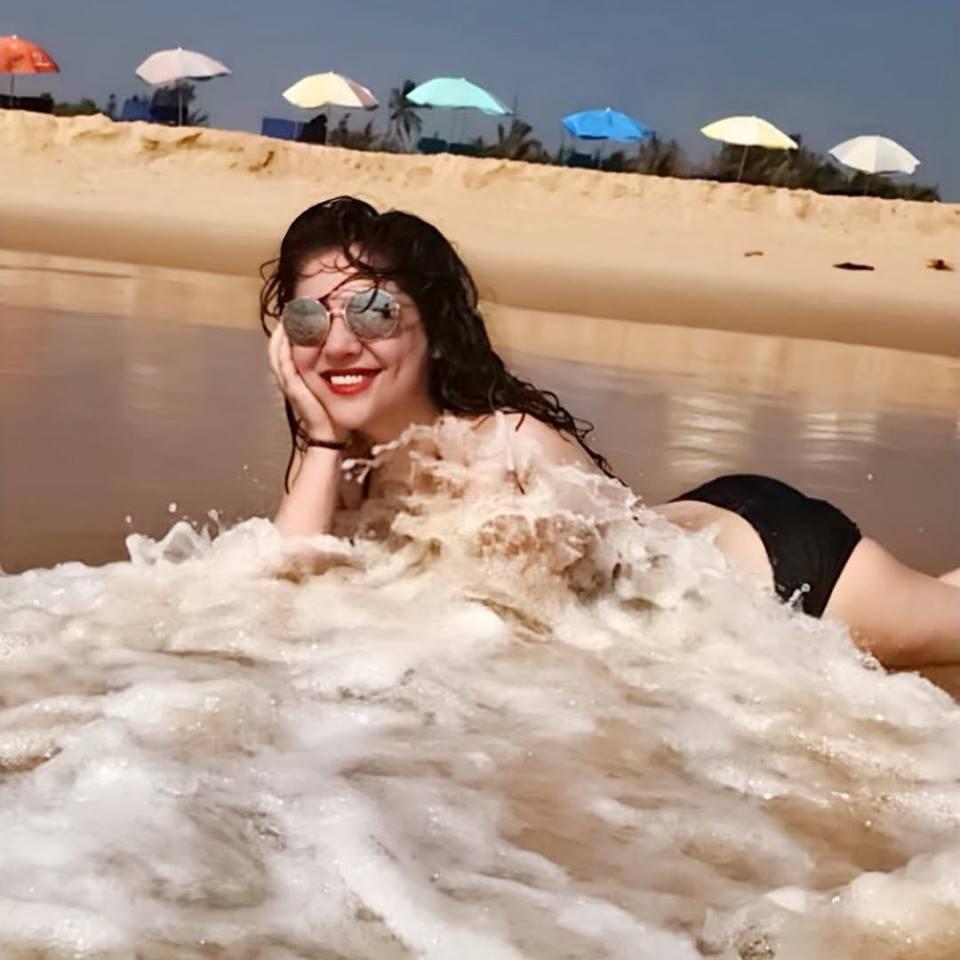 Bikini-clad Sherin Shringar in a Beach